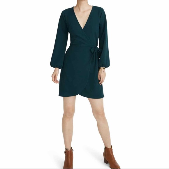 Madewell Long Sleeve Faux Wrap Green Dress Size L
